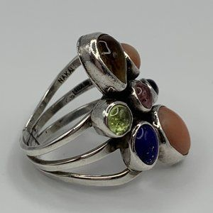 Nakai Navajo Sterling 7-Stone Ring -  Size 6.5